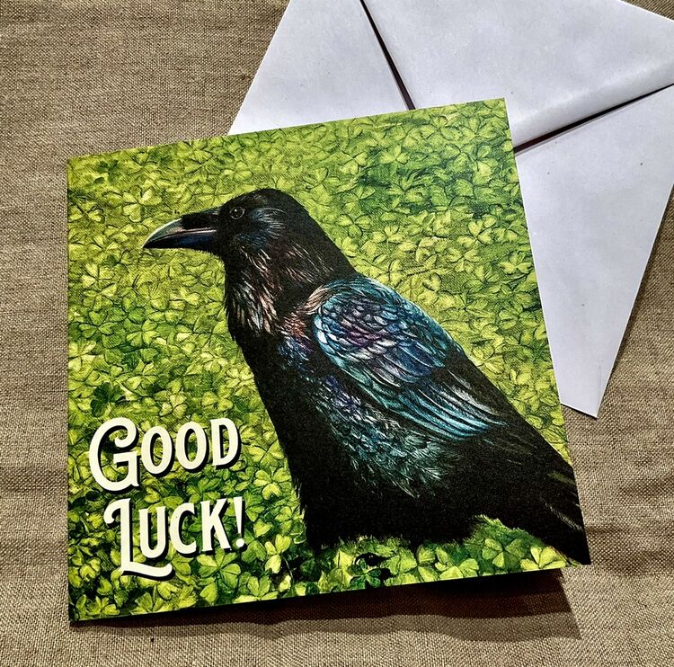 Raven Patrick in green Shamrocks greeting card, Good luck! Black raven, crow art