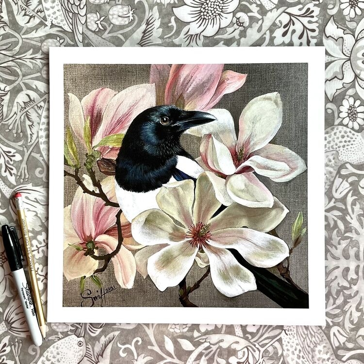 Magpie in magnolias high quality giclee art print from the original acrylic painting