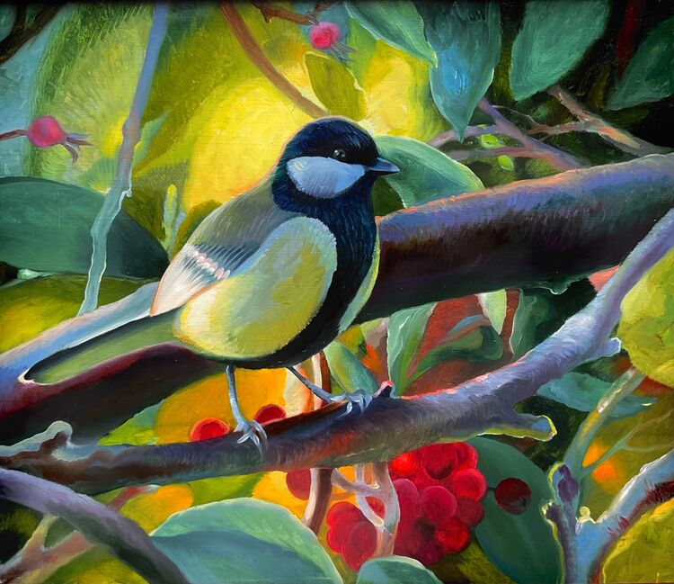 The great tit in late summer light