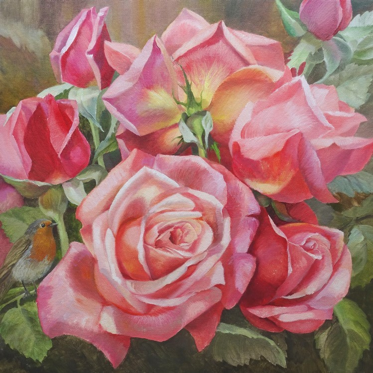 Robin in blooming pink roses