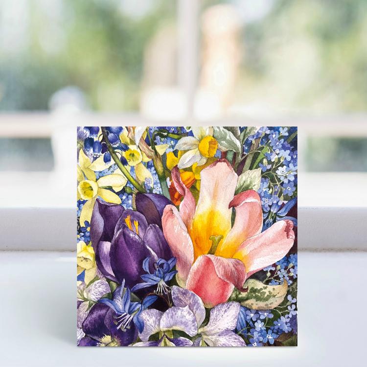 Floral card Pink Tulip 2.95 free UK postage