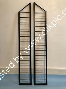 A pair of restored slim depth bookshelf ladders. Height 132.1 cm x Depth 20.3 cm. Please click on image for more information.