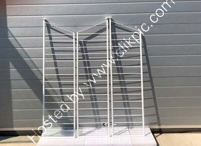 Now Sold.  132.1 cm x 35.5 cm Restored set of three ladders. Please click on image for information.