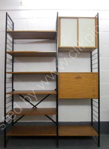 Now sold H 200.7cm W 141cm D 37cm * A combination of deep shelving, with a storage cabinet and small desk/bureau. Available with white or black ladders, blue, red or teak sliding doors. Shorter ladders are often available on request.