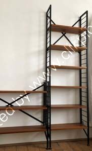 Now reserved. £450.Tall slim depth shelving with restored WHITE OR BLACK ladders, braces and feet. Width 64.5 cm. Click on image for information.