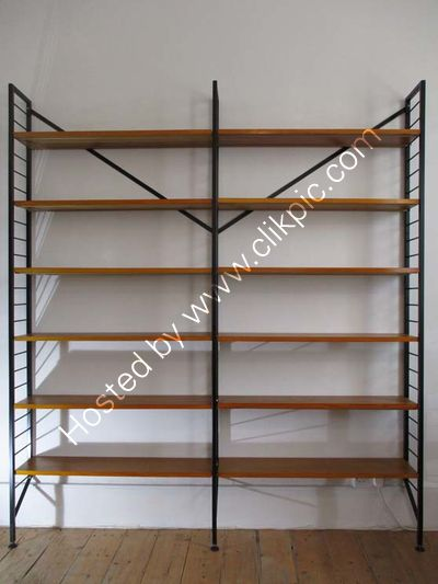 £740 Double bookcase fully restored white or black ladders and restored rods with best shelves. Please click on image for more information.