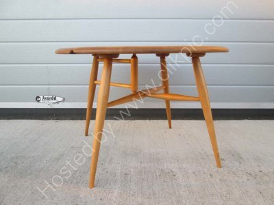 Now sold. Ercol drop leaf coffee table. Height 40 cm Width open 61 cm.Closed depth 36.7 cm. Max width between legs 63.2 cm . Stripped, sanded and re-lacquered.Please click on image for more information or for a buy it  now if you want it posted.