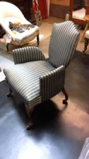 £750 .1880's English 'Quaint' chair, covered in French silk, traditionally built with horse hair and hand stitched. £750