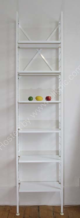 £350 Width 49.5 cm.Narrow book-shelving with white Ladderax ladders, professionally sprayed white shelves with newly powder-coated gold support bars. Click on image for more information.