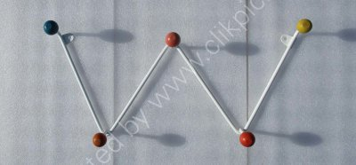£30 + £5 P+P UK mainland postage.Vintage zigzag coat-peg. Restored metalwork, wooden balls. Please click on image to buy