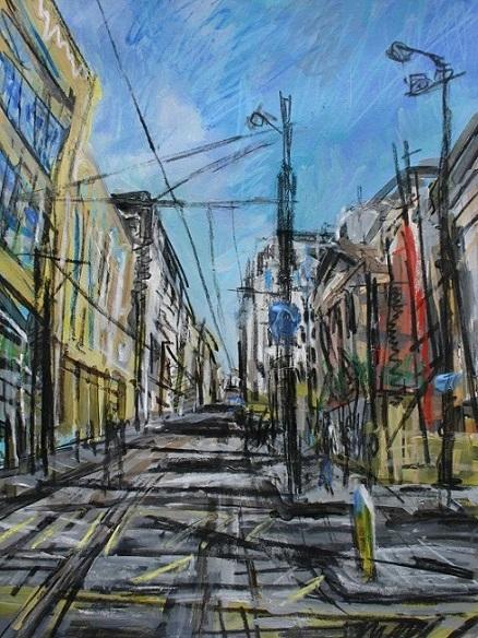 Tram lines near Manchester Art Gallery