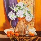 "Hydrangeas & lillies in a copper jug,     oil on canvas,    30""x40"","