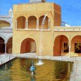 "Jardin Estanque de Mercurio, Alcazar, Seville, oil on canvas, 20""x16"""