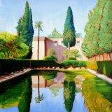 """Jardin de los poetas, Alcazar, Seville,. 20""""x20"""" (sold)"""