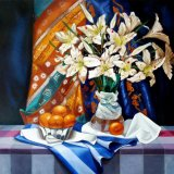 "Lillies with oranges,                 oil on canvas,   30""x 30"""