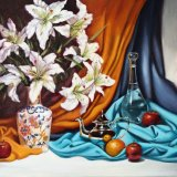 """Lillies with silver coffee pot & water carafe,                  oil on canvas,   23""""x 33"""""""