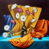 """mojacan vase with flowers, fruit & water,                  30""""x 30"""" oil on canvas,"""