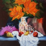 """Poppies with silver coffee pot,                         oil on canvas,    20""""x 20"""""""
