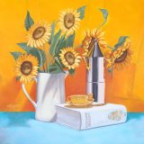 "Sunflowers, coffee & an Italian classic,      oil on canvas,     24""x 24"""