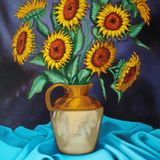 "Sunflowers on blue,                                     oil on canvas,      23""x 33"""