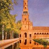 "La Plaza de Espagna, Seville, oil on canvas, 20""x16"""