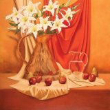 """lillies in copper jug with red velvet, oil on canvas, 30""""x30"""""""