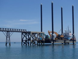 Demolition of old offshore boathouse structure