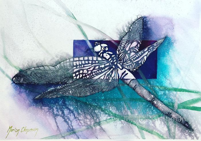 Dragonfly, watercolour & water-soluble markers