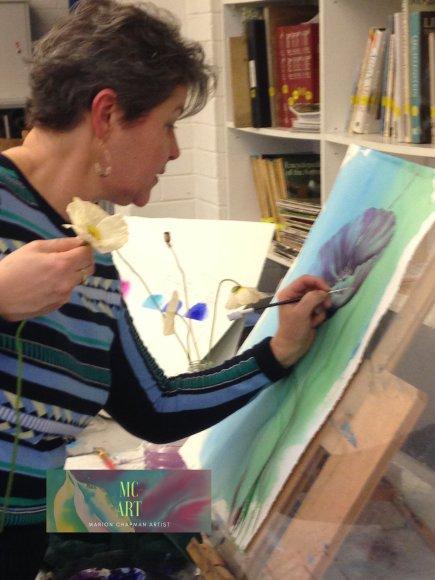 Marion Chapman Demonstrating at Bankstown Art Society