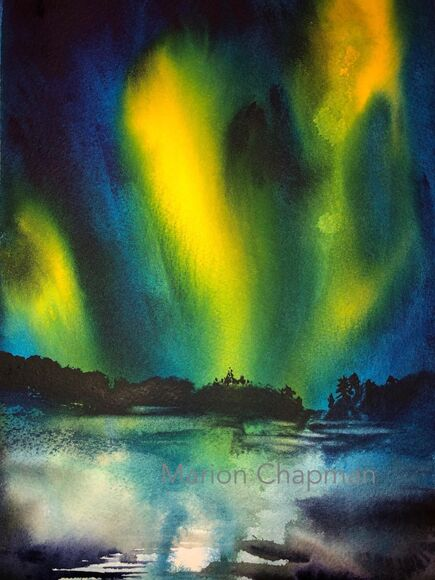 Northern LIghts, watercolour by Marion Chapman