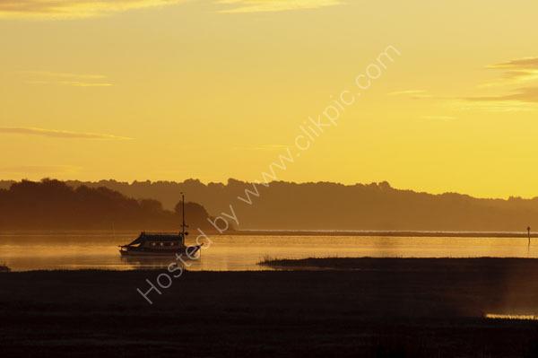 sunrise over the Arne penninsular in Poole harbour Dorset