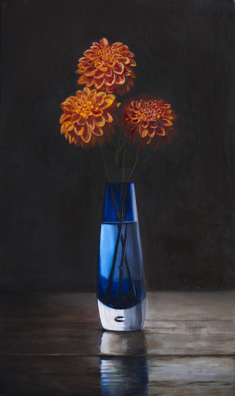 Orange Dahlias, Blue Vase  (55 x 33 cms, oil on canvas, 2012)