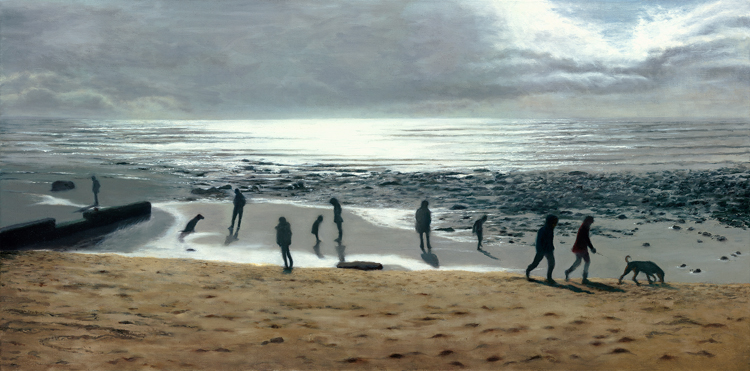 Charmouth Beach - Where the Sea Meets the Sky I  (40 x 80 cms, oil on canvas, 2014)