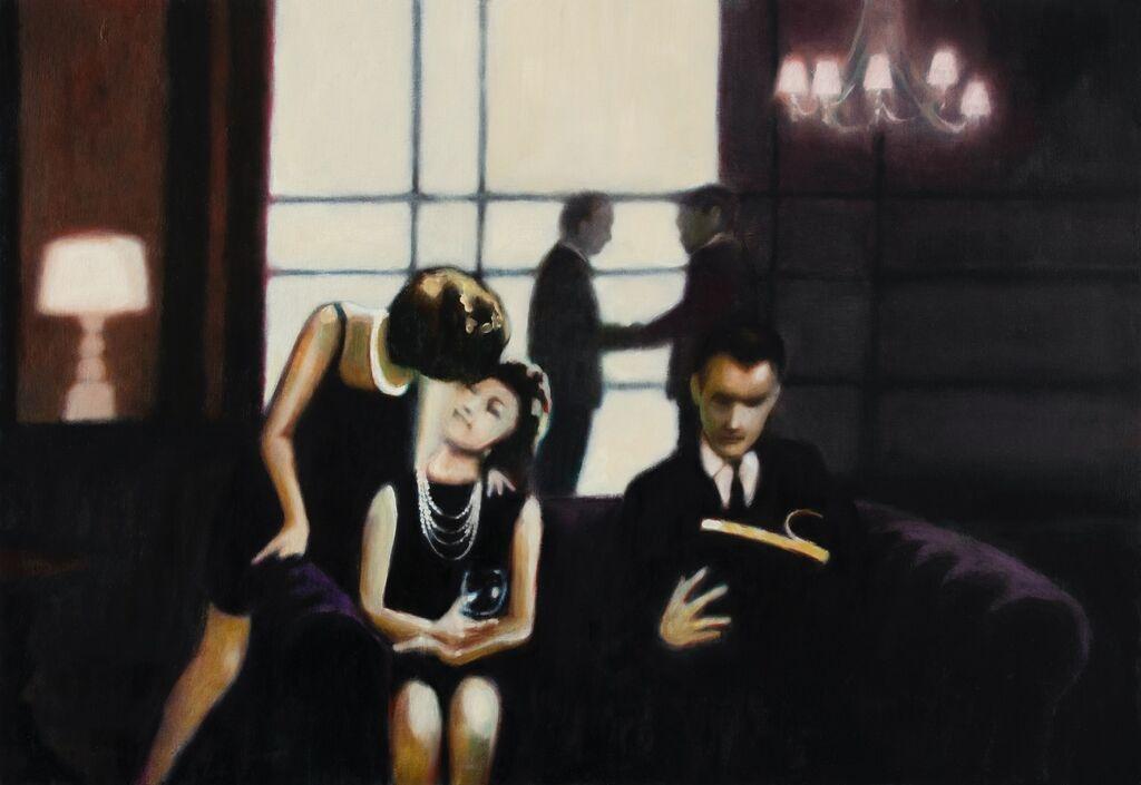 'Les Amants', 54 x 79 cm, oil on panel
