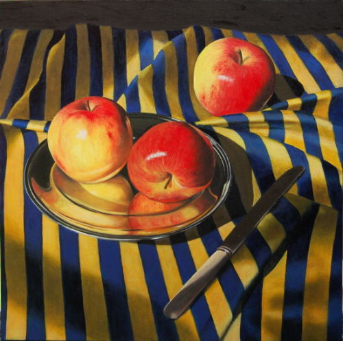 Apples on Striped Cloth (2007, oil on canvas, 50 x 50 cms)
