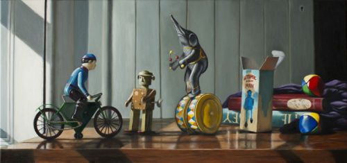Here Comes Atomic Robot Man (35 x 75 cms, oil on canvas, 2012)