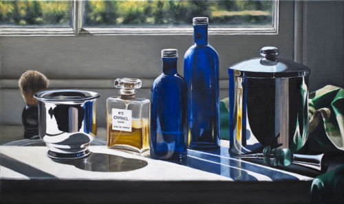 The Bathroom Sill With Chanel And Blue Bottles  (2012, oil on canvas, 33 x 55 cms)