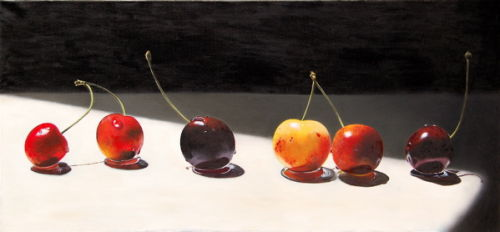 Black and White Cherries (2007, 75 x 35 cms, oil on canvas)