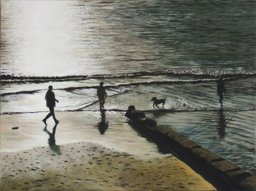 Charmouth Beach in Winter II (2008, oil on canvas, 40 x 30 cms)