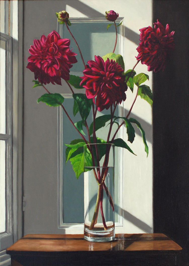 Three Stems of Purple Dahlias  (70 x 50 cms, oil on canvas, 2013)