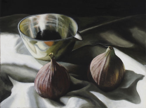 Two Figs and Silver Bowl (2007, oil on canvas, 40 x 30 cms)