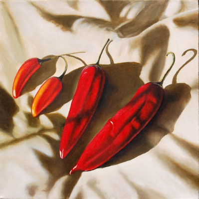 Four Hot Chillies (2007, oil on canvas, 40 x 40 cms)