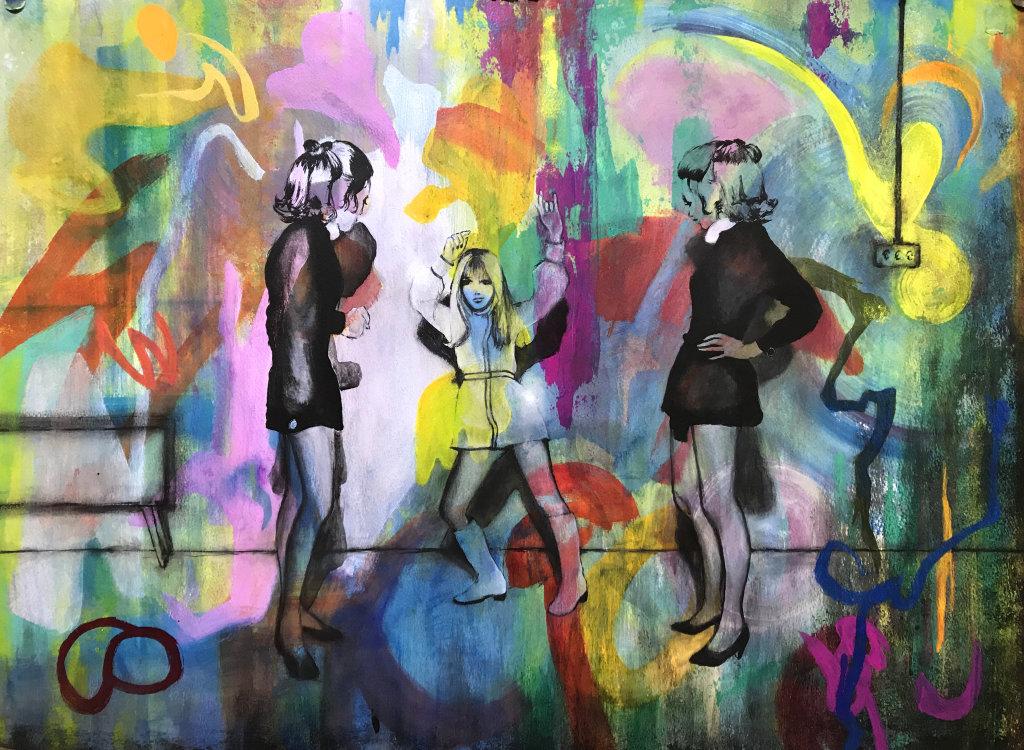 'Go Girl, Go', 70 x 50 cm, acrylic on paper
