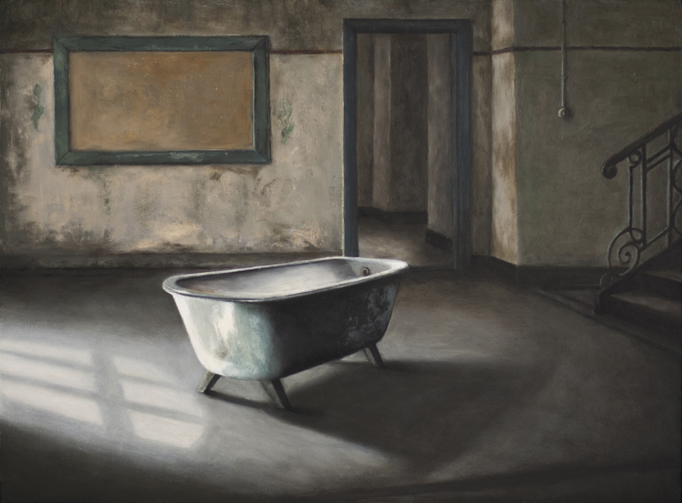 A Handful of Dust (3. The Bath)  (30 x 40 cms, oil on panel, 2013)