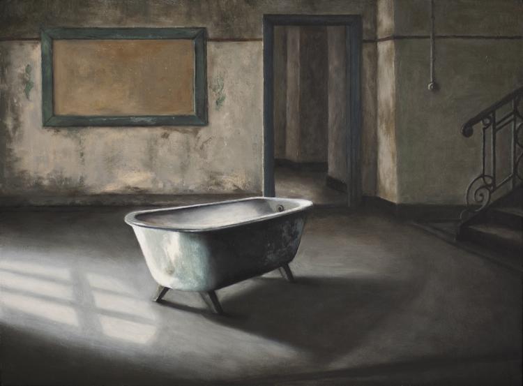 A Handful of Dust (3. The Bath)  (30 x 40 cms, oil on panel, 2013)
