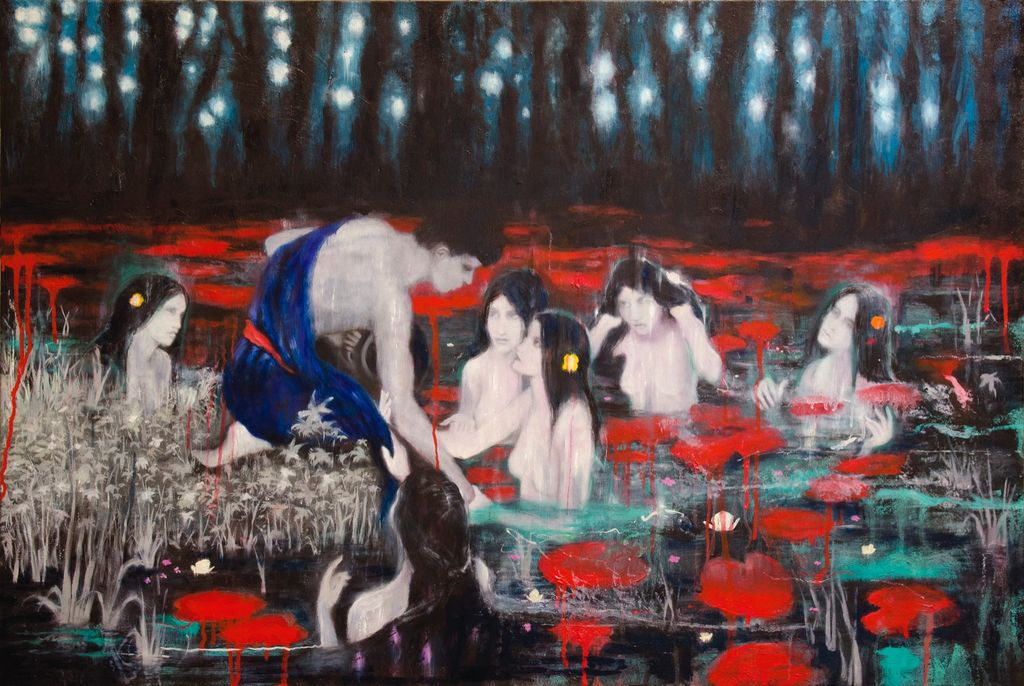 'Hylas and the Nymphs', 90 x 60 cm, oil on wood panel