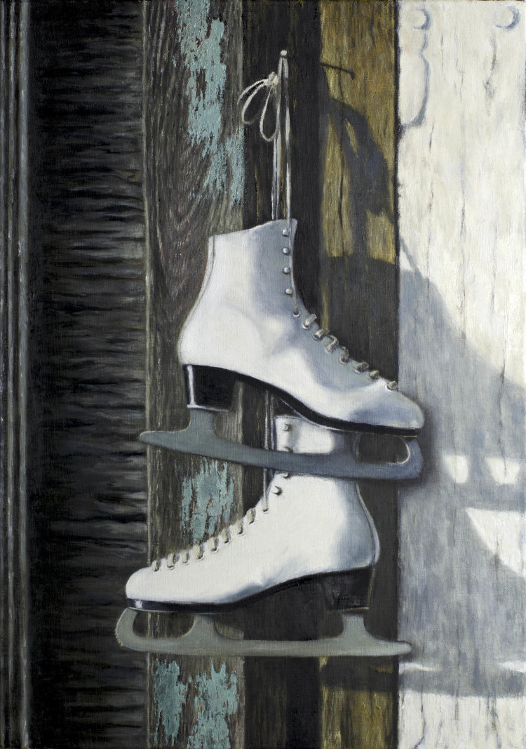Ice Skates Hanging on the Barn Door (60 x 40 cm, oil on canvas)