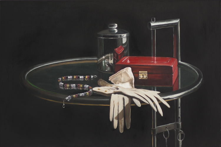 Leather Box, Leather Gloves (40 x 60 cms, oil on canvas, 2013)
