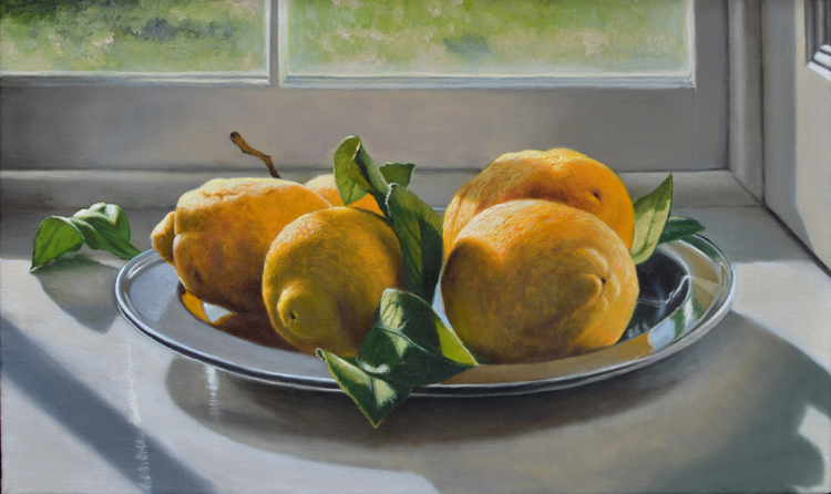 Lemons on a Silver Plate (33 x 55 cms, oil on canvas, 2014)