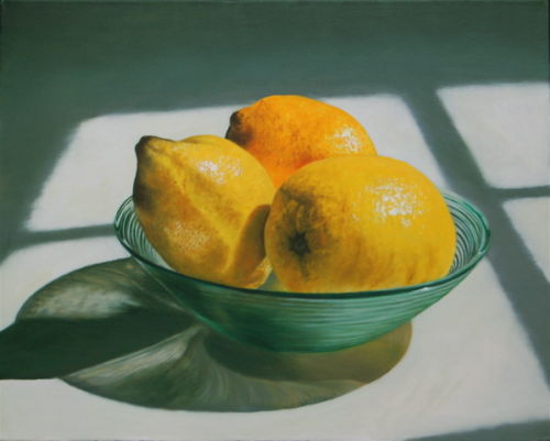 Three Lemons in a Glass Bowl (2008, oil on canvas, 40 x 50 cms)
